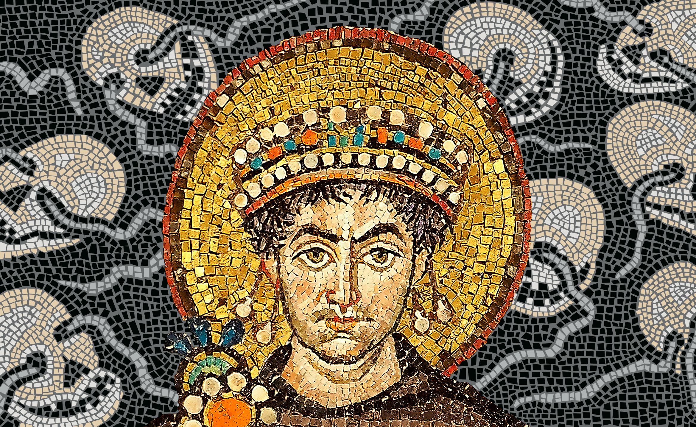 Plakatmotiv_Kollage zweier Mosaiken aus Ravenna und Venedig_In derBildmitteKaiserJustinianI.PetarMilosevicundTobiasEsch